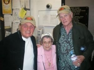 Marjorie Towstego backstage at the Beach Boys concert with original Beach Boys, Bruce Johnson and Mike Love