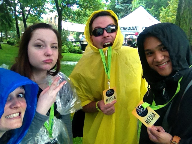 All Poncho'd Up! (Left to Right: Melissa Henderson, Hillarie Wilson, Daryl Uhrin and Kato Ferrer) (Photo by Melissa Henderson)